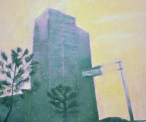 Untitled (Yellow with Building) painting