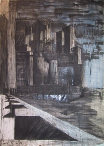 "Gothic Vauxhall, mixed media on paper, 59""x79"""