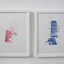 "Love Houston [L], Love Houston More [R]. Screenprints 11""x14"""
