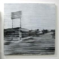 "I Think I Found My Sanctuary. Charcoal, acrylic, gel on canvas, 30""x30"""