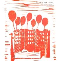 "Houston Party Town. Linoprint, 11""x14"""