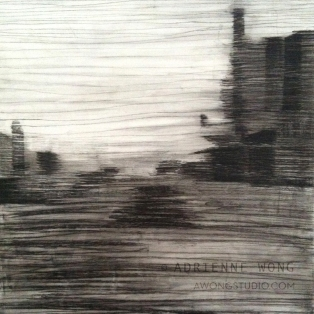 """All I Ever Wanted III (Westheimer). Charcoal, acrylic, varnish on birch panel, 20""""x20""""x2"""". Exhibited Georgetown Art Hop 2014"""