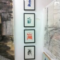 "Love Houston series of prints, black frames 11""x14"" each"
